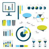 Flat infographic set of charts, bubbles, diagrams. Stock Photography