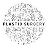 Flat infographics Plastic Surgery, Medical linear icons Beauty and Health Stock Photo