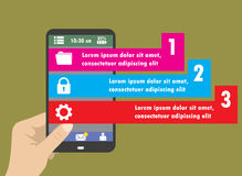 Flat Infographics Template and Mobile Web Elements Stock Photos