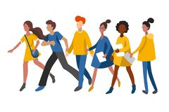 Flat infographics of walking women and men. Vector illustration of people with books in minimalist style. royalty free illustration