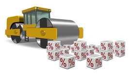 Flat interest rates. Road roller going over white cubes with percentage symbol on them Stock Image