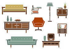 Flat interior furniture and accessories Royalty Free Stock Photography