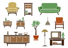 Flat interior and furniture icons Stock Image