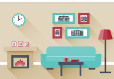 Flat interior living room. Interior of living room with fireplace and couch. Vector illustration in flat design with long shadows Stock Photography