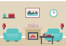 Flat interior living room. Interior of living room with fireplace and two armchairs in flat design. Vector illustration Royalty Free Stock Photography