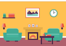 Flat interior living room. Interior of living room with fireplace and two armchairs in flat design. Vector illustration Royalty Free Stock Photo