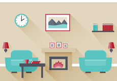 Flat interior living room. Interior of living room with fireplace and two armchairs. Vector illustration in flat design with long shadows Royalty Free Stock Photo