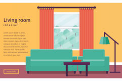 Flat interior living room. Vector background. Banner of colorful living room interior with window in flat design. Background. Vector illustration Stock Photo