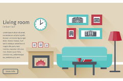 Flat interior living room. Vector background. Banner of living room interior including fireplace and couch in flat design with long shadows. Background. Vector Stock Photography