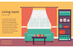 Flat interior living room. Vector background. Banner of living room interior with window and sofa in flat design. Background. Vector illustration Royalty Free Stock Photos