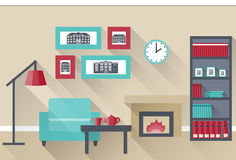 Flat interior living room. Vector. Interior of living room with chimney. Vector illustration in flat design with long shadows Royalty Free Stock Photography