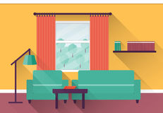 Flat interior living room. Vector. Interior of colorful living room with window. Vector illustration in flat design with long shadows Stock Photography