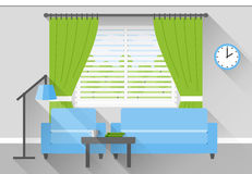 Flat interior of living room. Vector. Interior of living room in flat design with long shadows in blue, gray and green colors. Vector illustration Stock Images