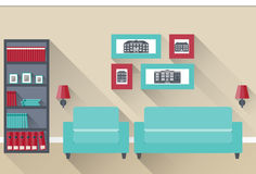 Flat interior living room. Vector. Interior of living room with furniture and pictures. Vector illustration in flat design with long shadows Royalty Free Stock Image