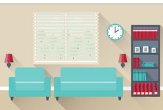 Flat interior living room. Vector. Interior of living room with window. Vector illustration in flat design with long shadows Stock Photography