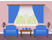 Flat interior living room. Vector. Interior of living room with window and two blue armchairs. Vector illustration in flat design with long shadows Stock Image