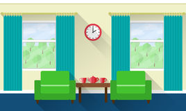 Flat interior living room. Vector. Interior of living room with windows and armchairs. Vector illustration in flat design with long shadows Stock Photography