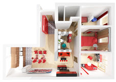 Flat interior top view. Modern interior on the top view (private apartment 3d rendering Royalty Free Stock Image