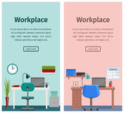 Flat interior workspace or home workplace. Vector background. Design workspace or home workplace in flat style. Office interior with furniture and equipment Royalty Free Stock Images