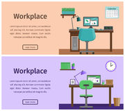 Flat interior workspace or home workplace. Vector background. Royalty Free Stock Photos