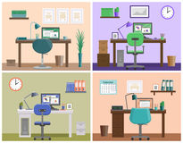 Flat interior workspace or workplace at home. Vector background. Workspace or workplace at home. Room design in flat style. Office interior with furniture and Royalty Free Stock Photo