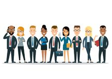 Flat international business people icons infograph royalty free illustration