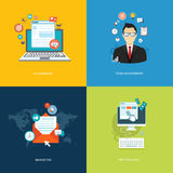 Flat internet banners set. Team management, marketing, e-commerc Royalty Free Stock Photography