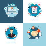 Flat internet banners set. Team management, online shopping, par Stock Photo