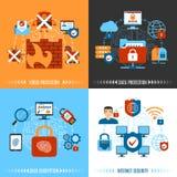 Flat Internet Security Concept Set Stock Photo
