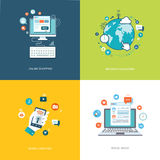 Flat internet technologies banners set. Social media, internet n. Avigation, online shopping, mobile services illustrations. Eps10 Stock Photos
