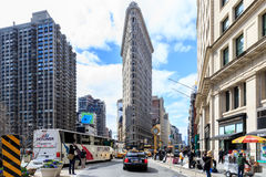 The Flat Iron building, a groundbreaking architectural feat was. NEW YORK - April 5 : Flat Iron building facade on April 5, 2014 in Manhattan, New York City. The Royalty Free Stock Image