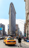 The Flat Iron building, a groundbreaking architectural feat was. NEW YORK - April 6 : Flat Iron building facade on April 6, 2014 in Manhattan, New York City. The Royalty Free Stock Images