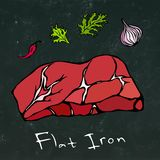 Flat Iron Steak Cut Vector Isolated On Chalkboard Background. Royalty Free Stock Images