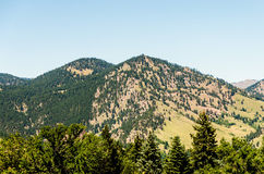 Flat Irons rock formation Boulder Colorado. Colorado Foothill Flatiron mountains,  with outdoor recreation and fresh air from a nature walk Stock Images