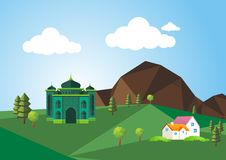 Flat island with mosque and landscape theme Royalty Free Stock Images