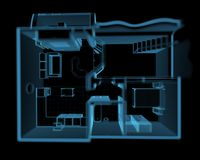 Flat isolated on black. Flat from above (3D xray blue transparent Royalty Free Stock Photo