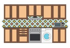 Flat isolated kitchen room. Graphic kitchen interior vector illustration. Kitchen interior isolated on white background. Kitchen with tile, washer, oven and Vector Illustration