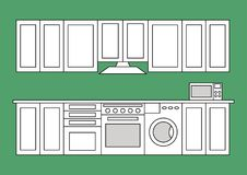 Flat isolated lined kitchen room. Graphic kitchen interior vector illustration. Colorless kitchen interior isolated on green background Royalty Free Illustration
