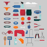 Flat isolated set of dog items elements. Pet icons walking, feeding, grooming salon equipment. Doggy fashion clothes Stock Photos