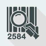 Barcode search. Flat and isolated vector eps illustration icon with minimal design and long shadow Stock Image