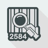 Barcode search. Flat and isolated vector eps illustration icon with minimal design and long shadow Stock Photography