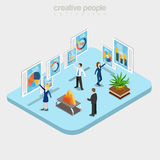 Flat isometric analytic department business vector. Flat isometric Modern analytics department interior, businesspeople working with touchscreen boards vector Stock Images