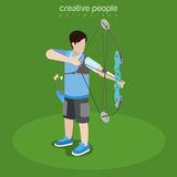 Flat isometric Archery Player with bow aim vector. Flat isometric Archery Player with bow taking aim vector illustration. Individual sports 3d isometry concept Royalty Free Stock Images