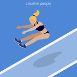 Flat isometric Athletics Long Jumper vector Sports Royalty Free Stock Image