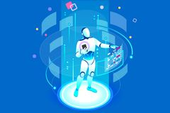 Artificial Intelligence Isometric Robot royalty free illustration
