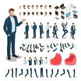 Flat isometric body parts man  set. Business. Flat style isometric body parts of man  illustration set. Male business character constructor: hair style, clothes Royalty Free Stock Photos