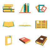 Flat Isometric Book Icons Symbols Logos Isolated Royalty Free Stock Image