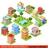 Flat isometric building small business park restaurant shop Royalty Free Stock Photos