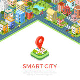 Flat isometric buildings phone Smart city app vect Royalty Free Stock Photo