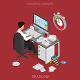 Flat isometric business man hurry vector. Flat isometric businessman works in a hurry vector illustration. 3d isometry rush for deadline, out of schedule Royalty Free Stock Photo